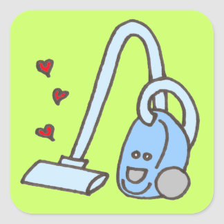 Vacuum Cleaner with Hearts Square Sticker