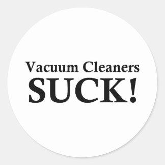 VACUUM CLEANERS SUCK CLASSIC ROUND STICKER