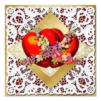 Valentine - 2 red hearts -Victorian vintage 2 5.25x5.25 Square Paper Invitation Card