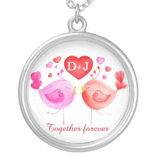 Valentine bird whimsical art personalised necklace