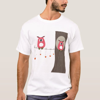 Valentine card with owls couple. T-Shirt