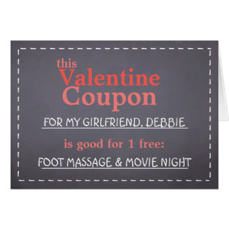 Valentine Chalkboard Coupon Greeting Card