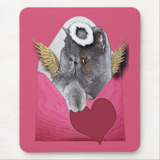 Valentine Cupid Persian Cat w/Heart Mouse Pad