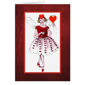 Valentine Fairy With Herat Covered Dress Card