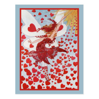 Valentine Fairy With Swarm of Red Hearts Postcard