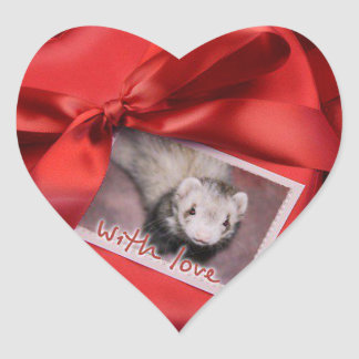 Valentine Ferret Heart Stickers