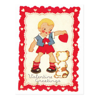 Valentine from a Boy and His Dog Postcard