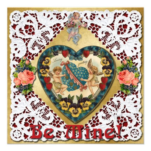 Valentine Heart with Lace - Vintage Victorian Personalized Announcement