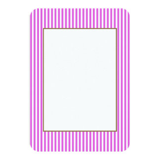 "Valentine Lilac and White Stripes 3.5"" X 5"" Invitation Card"