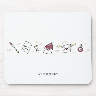Valentine love to letter flying envelope with wing mouse pad