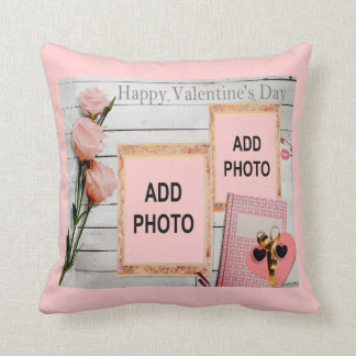 Valentine, Pink Roses, Heart Add Your Photos Cushion