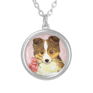 Valentine Rose Sheltie Silver Plated Necklace