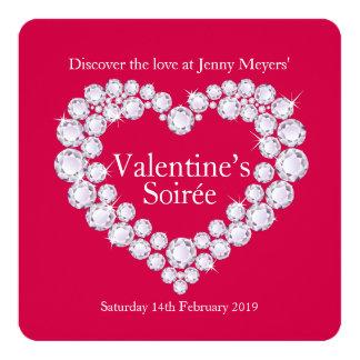 Valentine soirée diamonds heart party invite