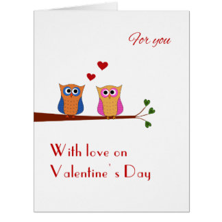 Valentine two cute owls big greeting card