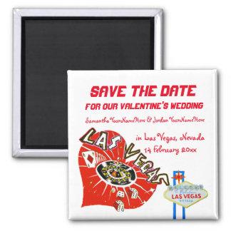 Valentine Wedding Save the Date Las Vegas Square Magnet
