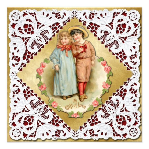 Valentine with Lace & Children - Vintage Victorian Personalized Invitations
