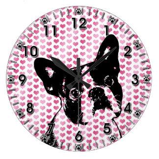 Valentines - Boston Terrier Silhouette Large Clock