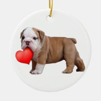 Valentines Bulldog puppy ornament