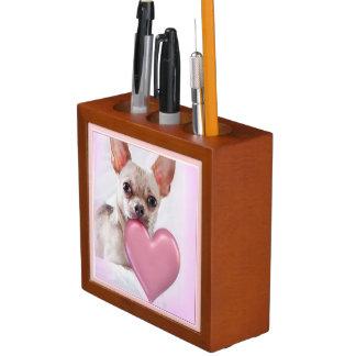 Valentine's Chihuahua dog desk organizer