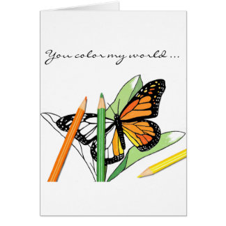 Valentine's Day butterfly coloring card of love