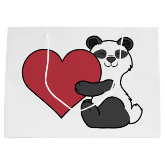 Valentine's Day Cute Panda Bear with Red Heart Large Gift Bag
