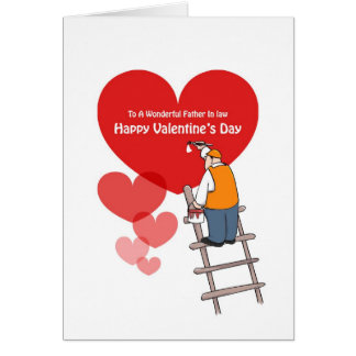 Valentine's Day Father In Law Cards, Red Hearts Greeting Card
