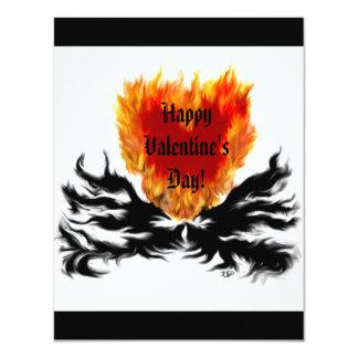 Valentine's Day -  heart in flame 11 Cm X 14 Cm Invitation Card