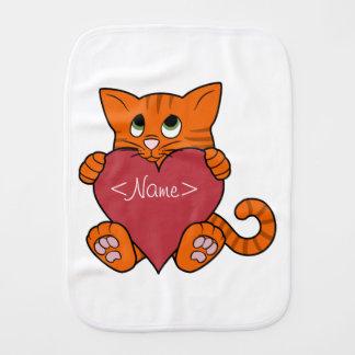Valentine's Day Orange Cat with Red Heart Burp Cloth