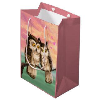 Valentine's Day owl couple sunset love Medium Gift Bag