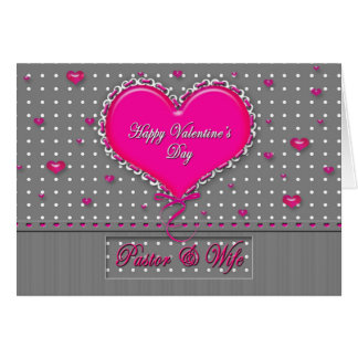Valentine's Day Pastor/wife - Gray/Pink/Polka Dot Card