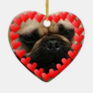 Valentine's French Bulldog heart ornamnet Ceramic Heart Decoration