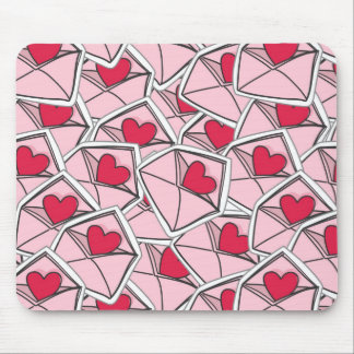 Valentine's Hearts on Envelopes Mouse Pad