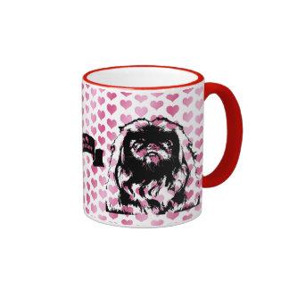 Valentines - Pekingese Silhouette - Pebbles Ringer Mug