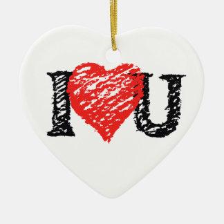 "Valentine's Scribble "" I Love You"" Ceramic Heart Decoration"