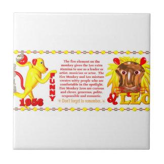 Valxart 1956 2016 2076 FireMonkey zodiac Leo Small Square Tile