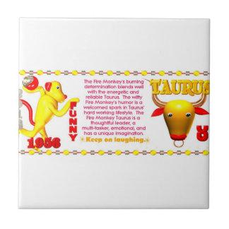 Valxart 1956 2016 2076 FireMonkey zodiac Taurus Ceramic Tile