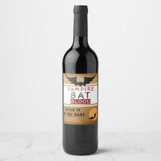 Vampire Bat Blood Halloween Wine Labels