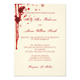 Vampire Halloween Wedding Fake Blood Red 13 Cm X 18 Cm Invitation Card