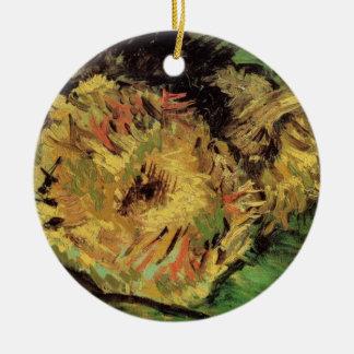 Van Gogh 2 Cut Sunflowers, Vintage Floral Fine Art Christmas Ornament