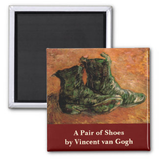 Van Gogh, A Pair of Shoes, Vintage Still Life Square Magnet