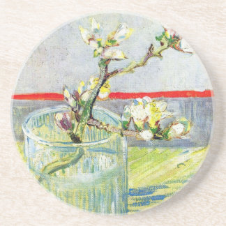 Van Gogh Art, Blossoming Almond Branch in a Glass Beverage Coaster