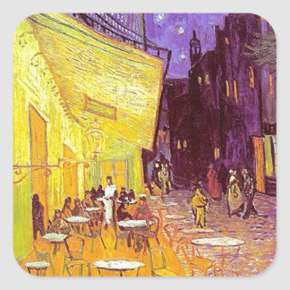 Van Gogh Cafe Impressionist Painting Square Sticker