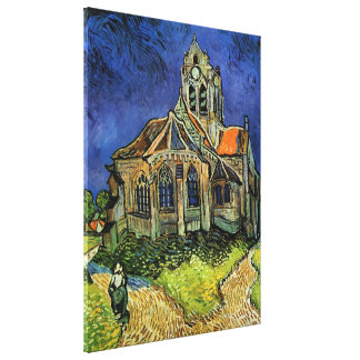 Van Gogh Church at Auvers, Vintage Architecture Gallery Wrapped Canvas