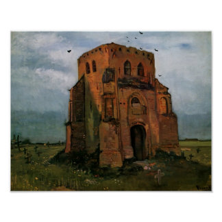 Van Gogh- Country Churchyard and Old Church Tower Poster