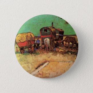 Van Gogh; Encampment of Gypsies with Caravans 6 Cm Round Badge