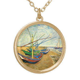 Van Gogh Fishing Boats on Beach at Saintes Maries Gold Plated Necklace