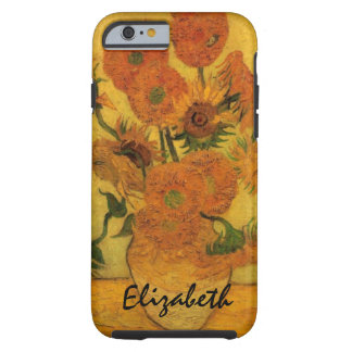 Van Gogh Flowers Art, Vase with 15 Sunflowers Tough iPhone 6 Case