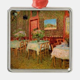 Van Gogh Interior of Restaurant, Vintage Fine Art Silver-Colored Square Decoration