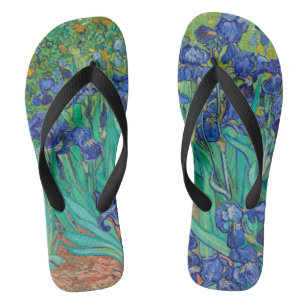 Van Gogh Irises. Blue floral vintage impressionism Jandals