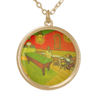 Van Gogh Night Cafe, Vintage Fine Art Gold Plated Necklace